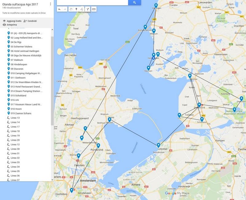L'Olanda in 5 giorni in Agosto 2017. L'itinerario